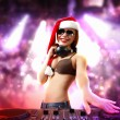 Female dj in christmas wear - Stock Photo
