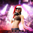Female dj in christmas wear — Stock Photo #16031183