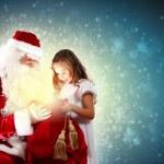 圣诞老人与一个女孩的肖像 — 图库照片