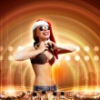 Female dj in christmas wear — Stock Photo #16032509