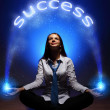 Young businesswoman and success word — Stock Photo