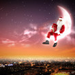 Santa on the moon — Stock Photo