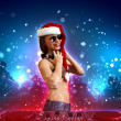 Female dj in christmas wear — Stock Photo #16037527