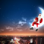 Santa on the moon — Stock Photo