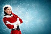 Attracive girl in santa clothes — Stock Photo