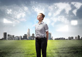 Businesswoman agaisnt virtual background — Stock Photo