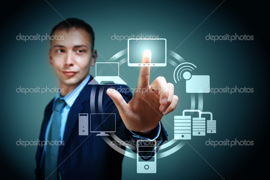 Business person pushing symbols on a touch screen interface — Foto Stock #16031625