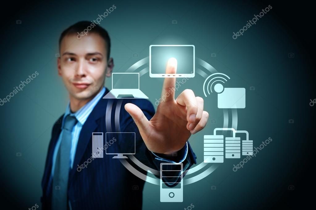 Business person pushing symbols on a touch screen interface — Стоковая фотография #16031625