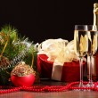 Glasses of champagne at new year party — Lizenzfreies Foto
