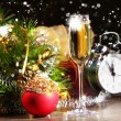 New Year's collage with glasses — Stock Photo