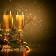 Glasses of champagne at new year party — Stok fotoğraf #16243927