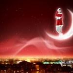 Santa girl on the moon — Stock Photo #16244067