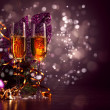 Glasses of champagne at new year party — Stok fotoğraf #16244141
