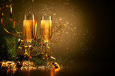 Glasses of champagne at new year party — Stockfoto