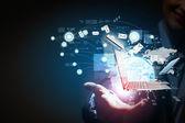 Moderna tecnología inalámbrica y redes sociales — Foto de Stock