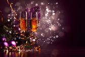 Glas champagne på nyårsfest — Stockfoto
