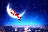 Papai Noel na lua — Fotografia Stock