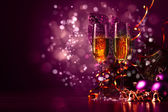 Glasses of champagne at new year party — Foto Stock