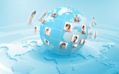 Planet as symbol of social networking — Stock Photo
