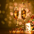 Glasses of champagne at new year party — Stock Photo #16357493