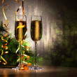 Glasses of champagne at new year party — Stock Photo #16358343