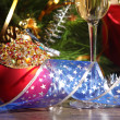 Glasses of champagne at new year party - Foto Stock