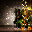 Glasses of champagne at new year party - Stock Photo