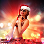 Female dj in christmas wear — Stock Photo