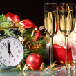 Stock Photo: Glasses of champagne at new year party