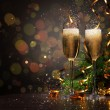 Glasses of champagne at new year party — Stock Photo