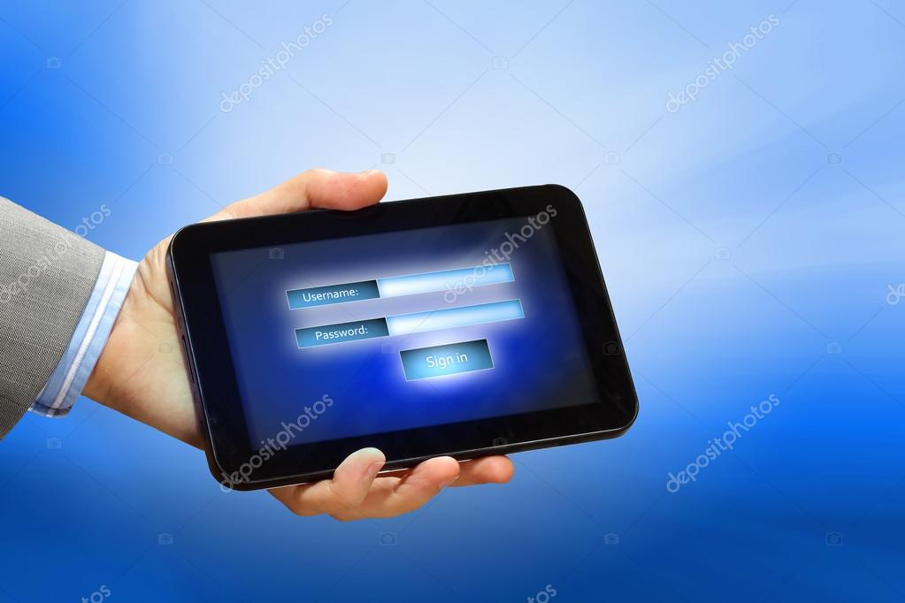 Login with email and password on computer screen  Stock Photo #16358101
