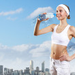 Sport woman and pure water - Stock Photo