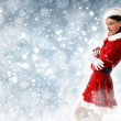 Attracive girl in santa clothes — Stock Photo