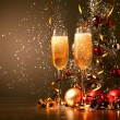 Glasses of champagne at new year party — Stock fotografie