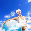 Sport woman and our planet - Stockfoto