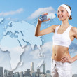 Stock Photo: Sport woman and pure water