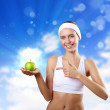 Sport and healthy food — Stock Photo