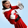 Christmas girl in santa hat — Stock Photo