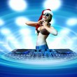 Female dj in christmas wear — Stock Photo