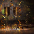 Glasses of champagne at new year party — Stock Photo #16369427