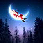 Photo of santa claus sitting on the moon — Stock Photo #16369697