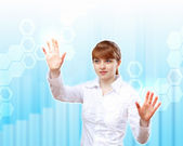 Female scientist working with a virtual interface — Stock Photo