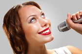 Portrait of female singer — Stock Photo