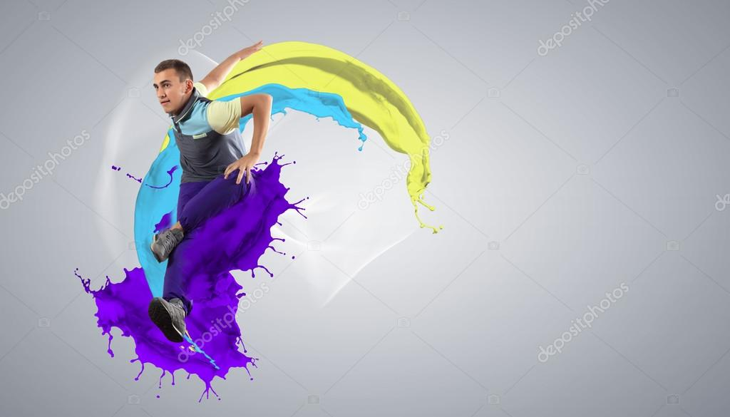 Modern style dancer jumping and paint splashes Illustration — Stock Photo #16368451