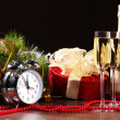 Glasses of champagne at new year party — ストック写真
