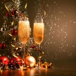 Glasses of champagne at new year party — Stock Photo #16371109