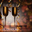 Glasses of champagne at new year party — Stock Photo #16372357