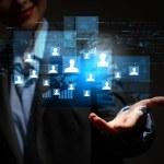 Modern wireless technology and social media — Stock Photo