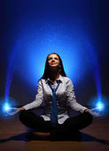 Business woman meditating — Stock Photo