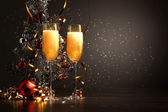 Glasses of champagne at new year party — Φωτογραφία Αρχείου
